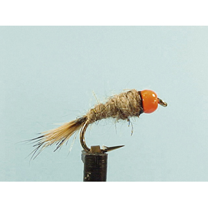 Mouche Lm2g nymphe casquée - N14 - Orange Hothead Hares Ear  h10