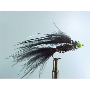 Mouche Lm2g streamer plombé - ST38 - Green Bead Black Cat  h10