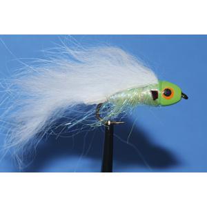 Mouche Lm2g streamer tête cône ou haltère - ST85 - White & Chartreuse  h8