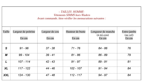Tailles vêtements Simms hors waders