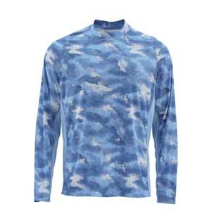 T-Shirt Simms - Solarflex Crewneck Print - Taille S - Camo Sky Blue