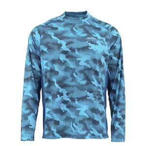 T-Shirt Simms - Solarflex Crewneck Print - Taille S - Camo Cobalt