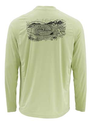 T-Shirt Simms - Solarflex Ls Crewneck Graphic Prints - Taille S - Light Green